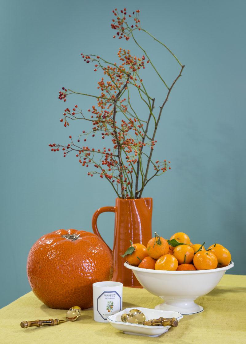 naranja, frutero, mesa, ideal, jarra, colores, indietro