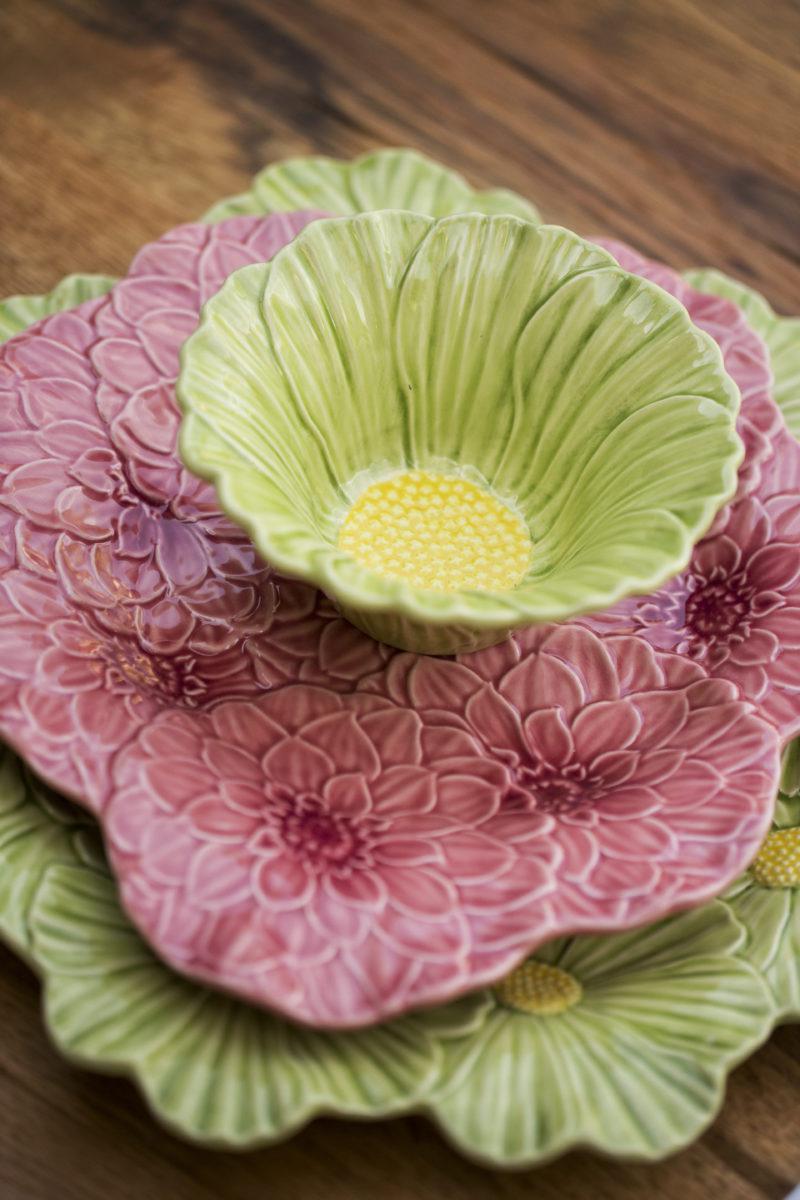 Bordallo Pinheiro,indietro,loza, plato rosa flor