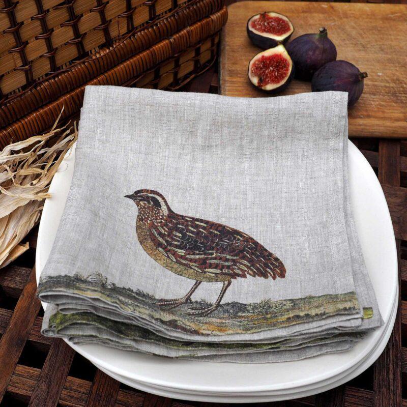 mesas de caza, mesas de campo, servilletas pájaros, indietro