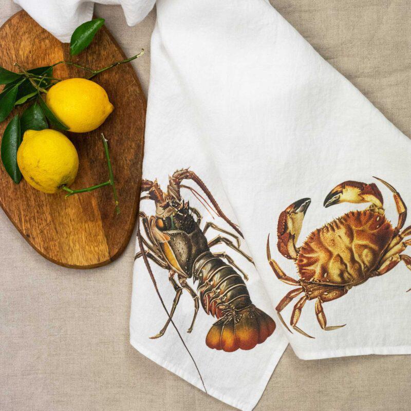 paños cocina, lino, langosta, cangrejo