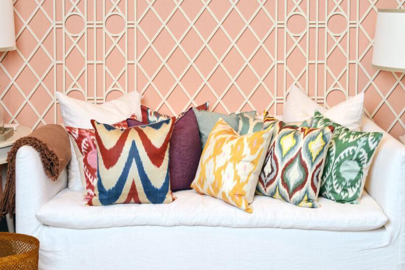 cojines, almohadones colores, ikat, indietro, seda