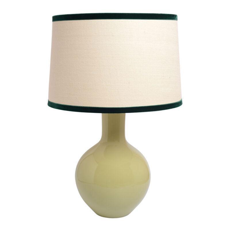 lámpara tibor, verde jade, elegante pie de lampara, INDIETRO