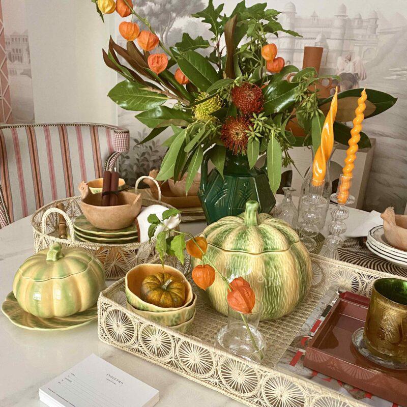 mesas de otoño, calabaza ceramica, halloweem piezas, indiet
