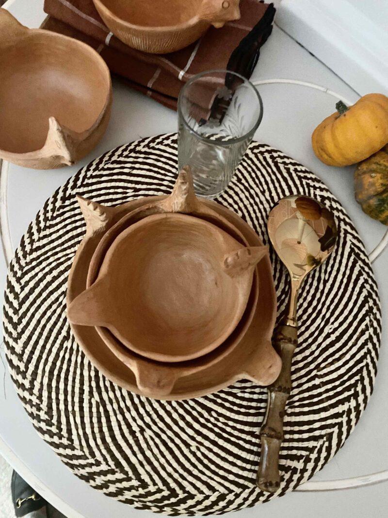 cuencos, barro, mesas rustica, hecho a mano, Colombia, indietro